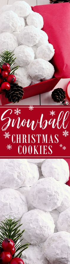 Snowball Christmas Cookies Simply the BEST! Buttery never dry with plenty of walnuts for a scrumptious melt-in-your-mouth shortbread cookie (also known as Russian Teacakes or Mexican Wedding Cookies). Everyone will LOVE these classic Christmas cookies! Christmas Deserts, Noel Christmas, Christmas Goodies, Holiday Desserts, Christmas Candy, Holiday Treats, Holiday Recipes, Christmas Recipes, Mexican Christmas Food