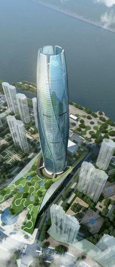 New City Flower, Fushun, China by UA Studio 7 :: 60 floors, height 280m
