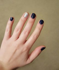 Navy and glittery silver