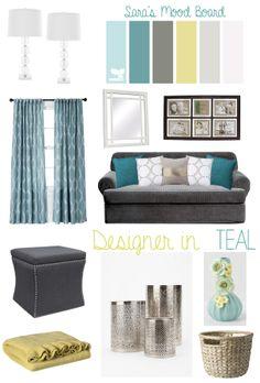 Designer In Teal: Sarau0027s Mood Board Teal Living Rooms, Living Room Decor,  Living