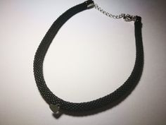 Choker - black toho by Manufaktura Leo Black Choker, Leather Working, Leo, Chokers, Jewelry Making, Handmade, Hand Made, Jewellery Making, Make Jewelry