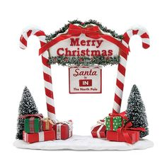 Possible Dreams 'Merry Christmas' North Pole Gate Décor Merry Christmas Santa, Christmas Signs Wood, Diy Christmas Tree, Christmas Door, Christmas Balls, Rustic Christmas, Christmas Lights, Christmas Ornaments, Christmas Parties