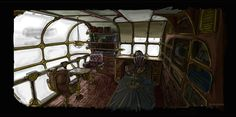 Steam airship interior by Voskresensky