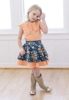 Tilly's Circle Skirt PDF pattern 2-12yrs includes 3 waistband choices and optional double layer skirt. Simple Life Pattern Company