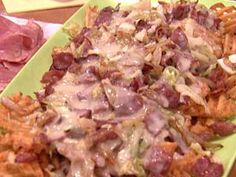 Corned beef Irish Nachos- needs jalapenos, and homemade chips instead of waffle fries.