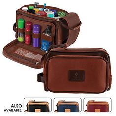 Cruelty-Free Leather Travel Toiletry Bag Dopp Kit by Pierre LaCroix  76109765b4440