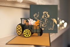 Fab pop-up tractor card from Folksy