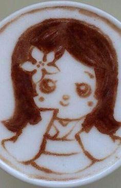 Girl Thinking Latte Art