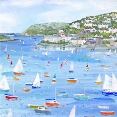 Salcombe (CH50) Boats and Harbour Art Print by Claire Henley www.thewhistlefish.com/product/p-ch50-salcombe-art-print-by-claire-henley