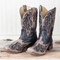 Corral Men's Black and Brown Bone Inlay Square Toe Boot A2828 | Cowby Boots and Western Clothing | Painted Cowgirl Western Store