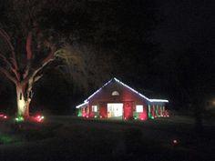 Christmas decorated horse barn