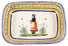 """Quimper  Pottery Dish - Quimper pottery dish marked """"Henriot Quimper"""" in yellow and blue. 6"""" L x 4"""" W x 1"""" H  49 - orig. 120"""