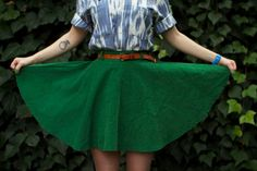 High waisted green corduroy circle skirt by MaliaMillais on Etsy, $57.00