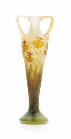 DAUM enamelled glass vase ca. 1910
