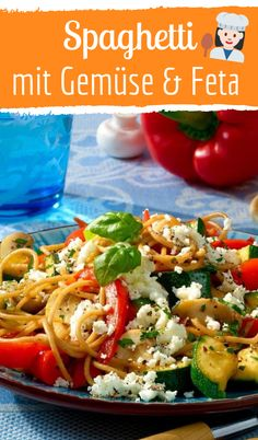 Quick recipe: vegetable spaghetti with feta Pasta - Pasta salad - Pasta rezepte - Nudelgerichte - So Baked Spaghetti, Spaghetti Recipes, Pasta Recipes, Cheesy Spaghetti, Spaghetti Sauce, Quick Recipes, Quick Meals, Healthy Recipes, Cottage Pie