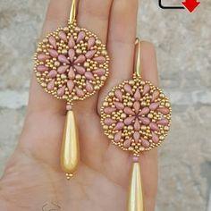 Earrings Mosaic beading pattern | Etsy Bead Earrings, Flower Earrings, Beaded Brooch, Beaded Jewelry, Seed Bead Jewelry Tutorials, Christmas Ornaments To Make, Digital Pattern, Beaded Embroidery, Beading Patterns