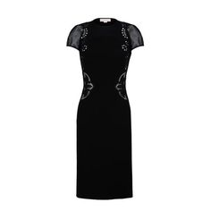 STELLA McCARTNEY, Knee Length, Black Mesh Embroidery Dress