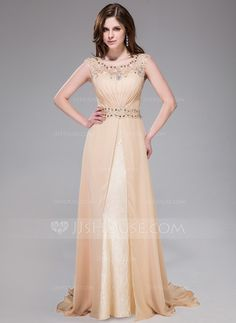 Evening Dresses - $158.99 - A-Line/Princess Scoop Neck Sweep Train Chiffon Lace Evening Dress With Ruffle Beading Sequins (017041158) http://jjshouse.com/A-Line-Princess-Scoop-Neck-Sweep-Train-Chiffon-Lace-Evening-Dress-With-Ruffle-Beading-Sequins-017041158-g41158?ver=xdegc7h0