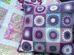 Betsy Makes ....: Crochet Cushion with love.... ~ has link to free granny square pattern