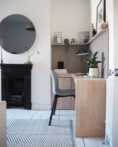 Join us as we have a look around Luke Arther Well's newly refurbed guest bedroom/office space! Spare Room Office, Guest Bedroom Office, Guest Bedrooms, Guest Room, Kitchen Desks, Kitchen Nook, Office With Fireplace, Monday Inspiration, Interior Inspiration