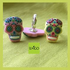 Sugar skull acrylic flatback on a silver plated adjustable ring base. 1 available in yellow 2 available in pink £7.50 each P&P is £2.00 www.facebook.com/lexicolaurayoung
