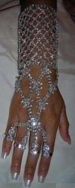 The Queen Nefertiti High Priestess Arm Rhinestone SILVER Bracelet
