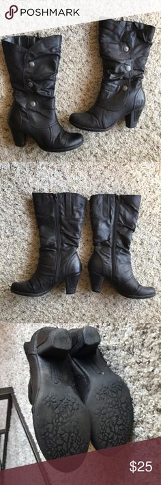 BLACK BOOTS Boots with heel Wore couple times Size 6.5 US Side zipper Brand: Bare Traps From SHOE CARNIVAL Shoes Heeled Boots