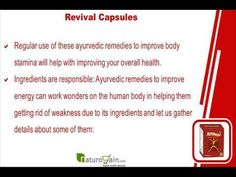 This video describes about ayurvedic remedies to improve energy and body stamina in males and females. You can find more detail about Revival capsules at http://www.naturogain.com