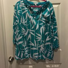 Pretty turquoise Ann white jeweled tunic 100% cotton. On trend. JM Collection Tops Tunics