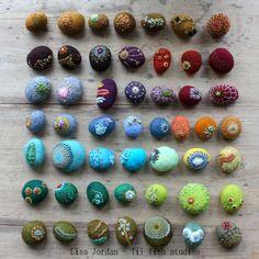 felted stones, stitched - Lisa Jordan, lil fish studios