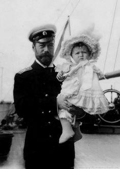 """Tsar Nicholas II of Russia and Tsarevich Alexei Nikolaevich Romanov of Russia aboard the yacht """"Polar Star"""". """"AL"""""""