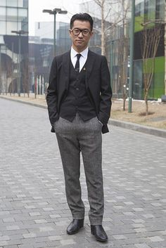 Beijing Street Style. Uniqlo jacket, Jil Sander pants, Dior Homme shoes, YSL glasses