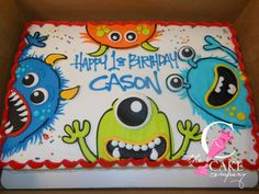 Little monster cake Monster Birthday Cakes, Little Monster Birthday, Monster 1st Birthdays, Monster Birthday Parties, First Birthday Parties, Birthday Party Themes, First Birthdays, Birthday Ideas, Monster Cakes