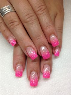 Gel Nail Designs 2016 New 15 Gel French Pink Nail Art Designs & Ideas 2016 Pink Gel Nails, Glitter Tip Nails, Pink Nail Art, Toe Nails, Pink Sparkle Nails, Stiletto Nails, Glitter Pedicure, Barbie Pink Nails, Pink Pedicure