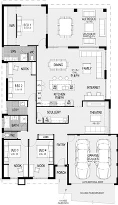 Change bed 2 nook area to an ensuite Floor Plan 4 Bedroom, Bedroom House Plans, House Rooms, New House Plans, Dream House Plans, House Floor Plans, Latest House Designs, Home Design Floor Plans, Storey Homes