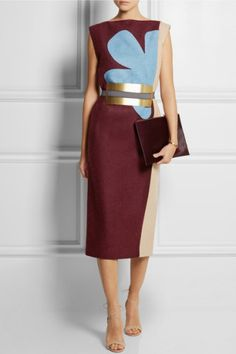 Known for her rich color combinations, Roksanda Ilincic was inspired by arts and crafts this season. This elongating midi-length 'Lea' dress has been made in France from panels of structured wool-felt in merlot, cornflower-blue and sand hues. It is punctuated with a waist-cinching metallic belt and lined in silk.   * Merlot, cornflower-blue and sand wool-felt  * Zip fastening along back  * 100% wool; lining: 100% silk  * Dry clean