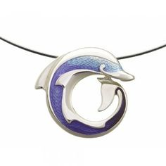 Inspired by the grace and beauty of the congenial dolphin, commonly found around the coast of Orkney, Sheila Fleet has created this beautiful Dolphins sterling silver pendant. The pendant enamelled in the lovely tones of Summer Blue has many other complimentary jewellery pieces also available in the collection. The Dolphins collection is Inspired, Designed and Made in Orkney, Scotland.