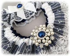 Something Blue Garter Set, Navy Blue Bridal Garter Set, White Lace Garter Set, Blue Lace Wedding Garter Set, Blue Garter Set by GarterQueen on Etsy