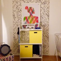 """Piece of fabric behind your shelf is already easy to make and cool idea. Simple """"fancy paper cutting"""" put into frame ads the idea a crown :)"""