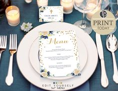 Blue Floral MENU, Instant Download, Navy and Gold Menu, Baptism Menu, Navy Wedding MENU, Navy Stripes, Printable Menu, Edit yourself by TweetPartyPrintables on Etsy Printable Menu, Party Printables, Diy Invitations, Baby Shower Invitations, Christening Invitations, Baby Shower Cupcakes, Wedding Menu, Place Cards, Table Decorations