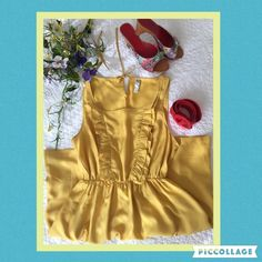 "Host Pick Maeve by Anthropologie silk dress ""She who is beautiful"" in daffodil yellow, 100% silk. Scoop neck with ruffled bodice, elastic waist and side slit pockets. Perfect condition. A light and airy piece for an early Spring wardrobe. Measures 35.5"" long from shoulder to hem 20.5"" from waist to hem waist is 24"" and expandable bust area is 19"" across front armpit to armpit. Dry clean only. Excellent condition. Anthropologie Dresses"