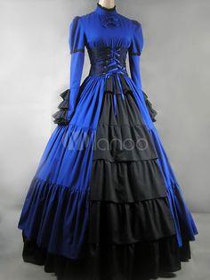 Blaues Lolita Kleid in gotischem Stil mit langen Ärmeln und Rüschen