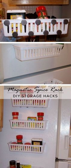 Magnetic Spice Rack For Refrigerator - DIY Storage Ideas for Small Apartments - Click for Tutorial #Refrigerators
