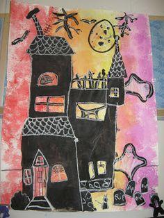Jamestown Elementary Art Blog: Third Grade Spooky Silhouette Architecture