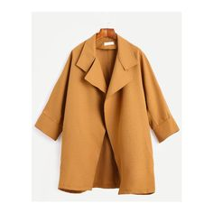 Mustard Cocoon Duster Coat (€19) ❤ liked on Polyvore featuring outerwear, coats, mustard yellow coat, beige coat, duster coat, mustard coat and cocoon coat