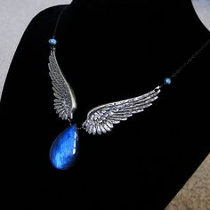 Faeriewings Labradorite and Angel Wings Necklace