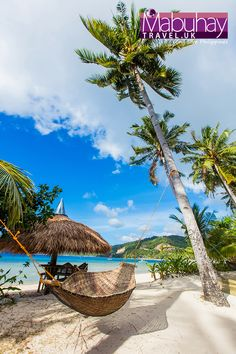 Enjoy your summer vacation relaxing on one of these hammocks at the tropical heavens of the Philippines! It's almost like you can feel the sunshine grazing your skin. Philippines Beaches, Philippines Travel, Relaxing Holidays, Palawan, Free Travel, Tropical Paradise, Beautiful Beaches, Palm Trees, Royalty Free Stock Photos