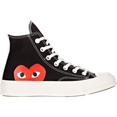 Comme des Garçons PLAY Women's Women's Chuck Taylor 1970s High-Top Sne ($125) ❤ liked on Polyvore featuring shoes, sneakers, black, high top sneakers, high top canvas shoes, lace up sneakers, high top shoes and canvas lace up sneakers