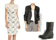 Lace Dress, Quilted Vegan Leather Jacket, Combat Boots