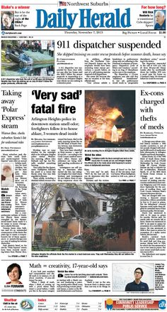 Daily Herald front page, Nov. 7, 2013; http://eedition.dailyherald.com/;